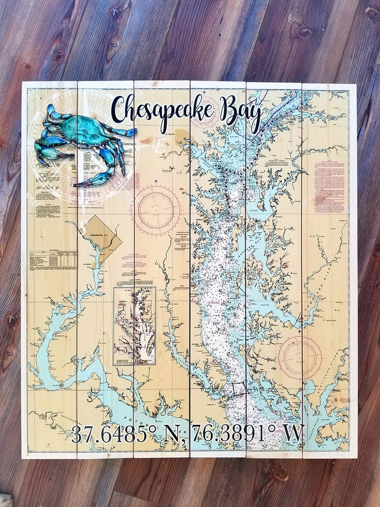 Chesapeake Bay, MD 6 Panel Statement Sized Pallet Map