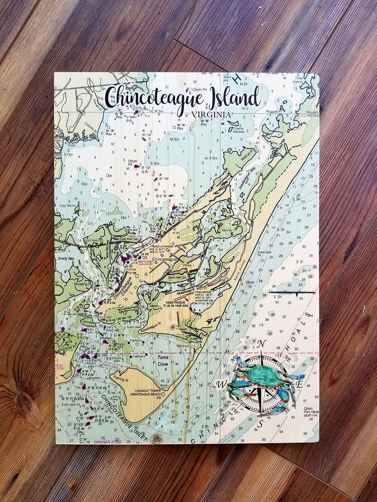 Chincoteague Island, VA Plank Map