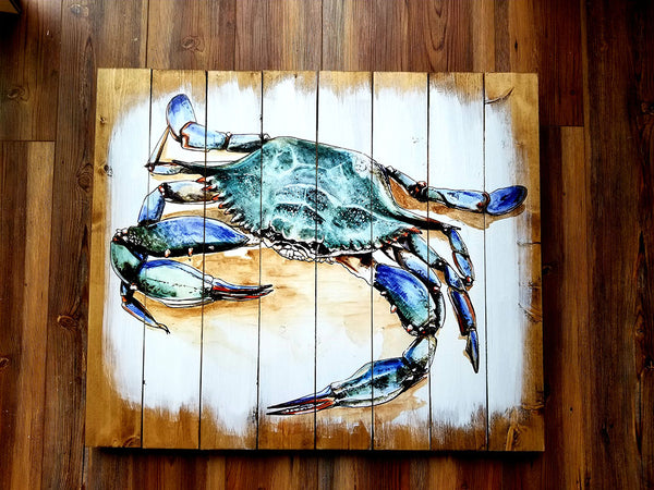 Crab Artwork Statement Sized Pallet Maps