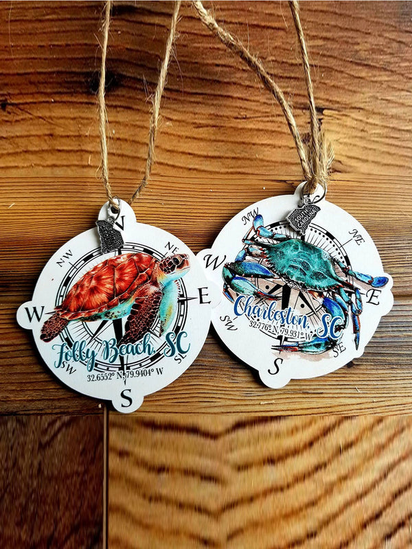 Charleston, SC Crab and Turtle Pair Ornaments