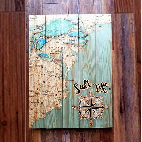 East Coast Salt Life Style Pallet Map
