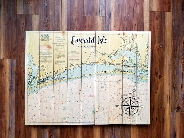 Emerald Isle, NC Statement Sized Pallet Maps