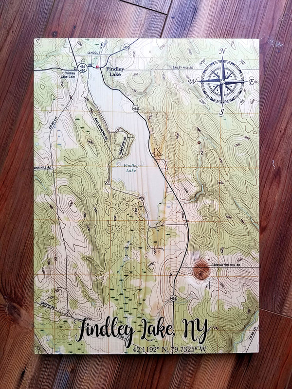 Findley Lake, NY Plank Map