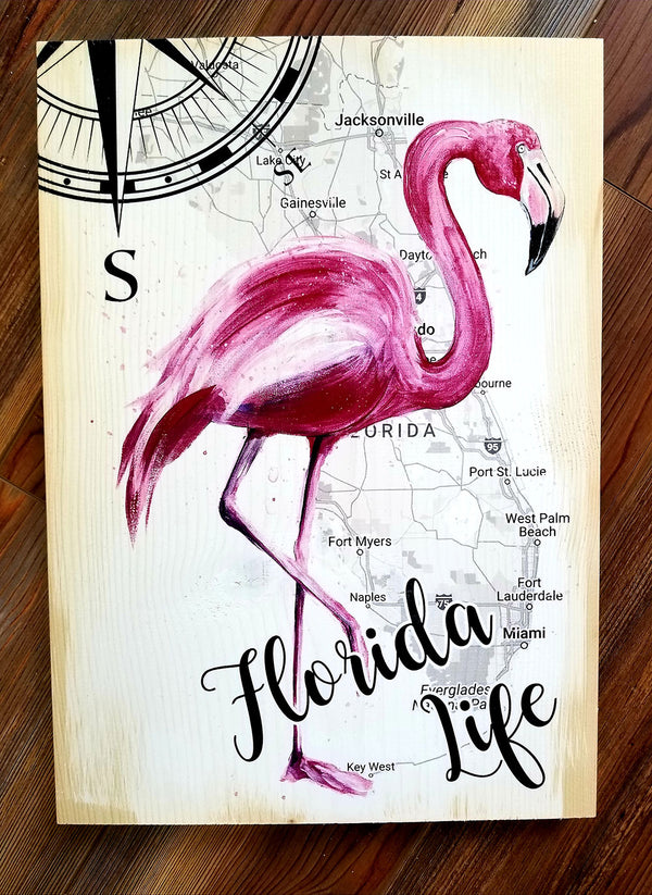 Florida Flamingo Plank Artwork