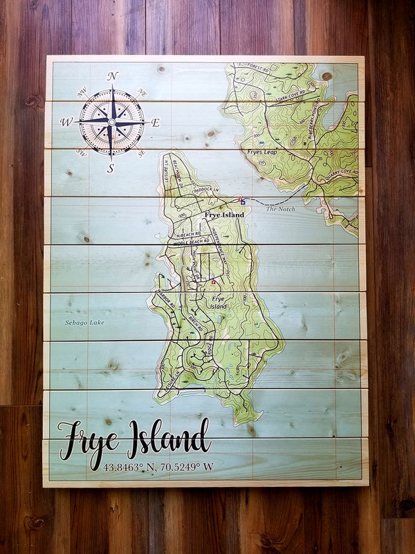 Frye Island, ME Statement Sized Pallet Map