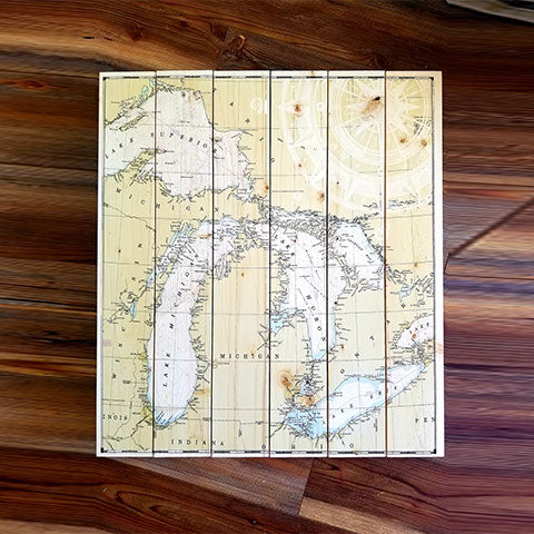 Great Lakes 6 Panel Pallet Map