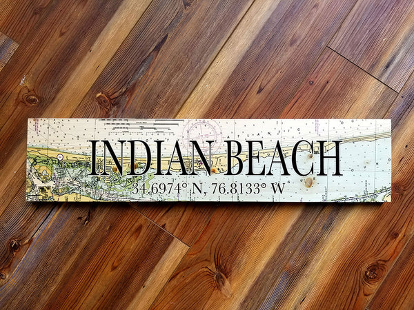 Indian Beach, NC Coordinate Sign