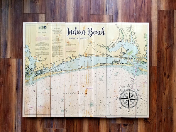 Indian Beach, NC Statement Sized Pallet Maps
