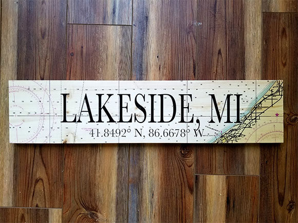Lakeside, MI Coordinate Sign