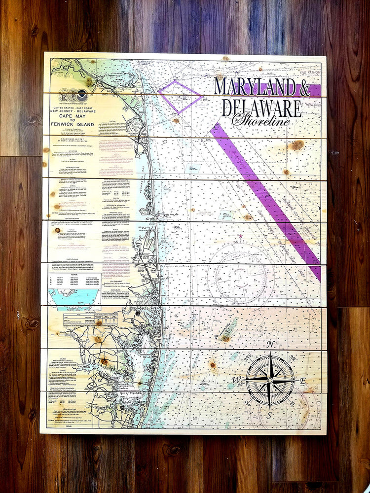 Maryland Delaware XL Statement Sized Pallet Maps