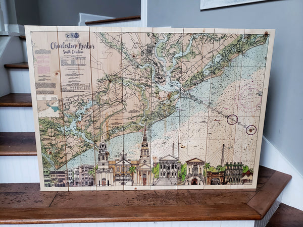 Largest Charleston SKYLINE Pallet Map32x44 Inches