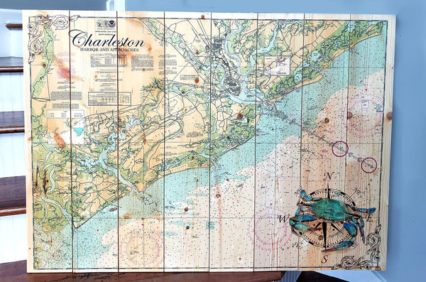 Largest Charleston Pallet Map with Crab 32x44 Inches