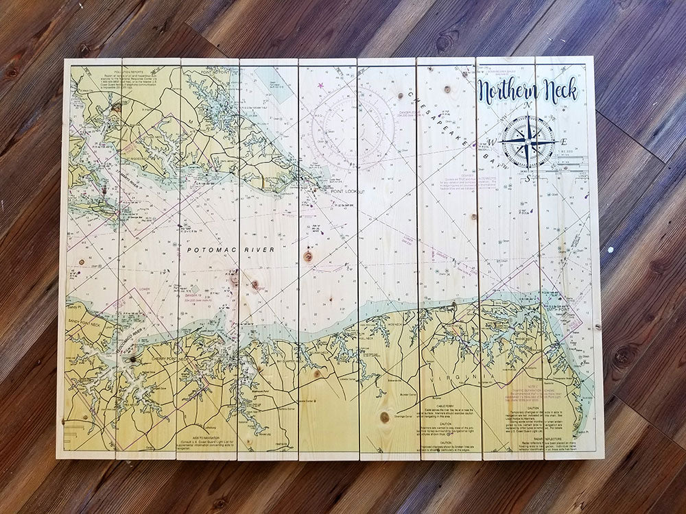 Northern Neck, VA Statement Sized Pallet Map