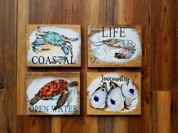 SET OF 4 Mini Ocean Artwork