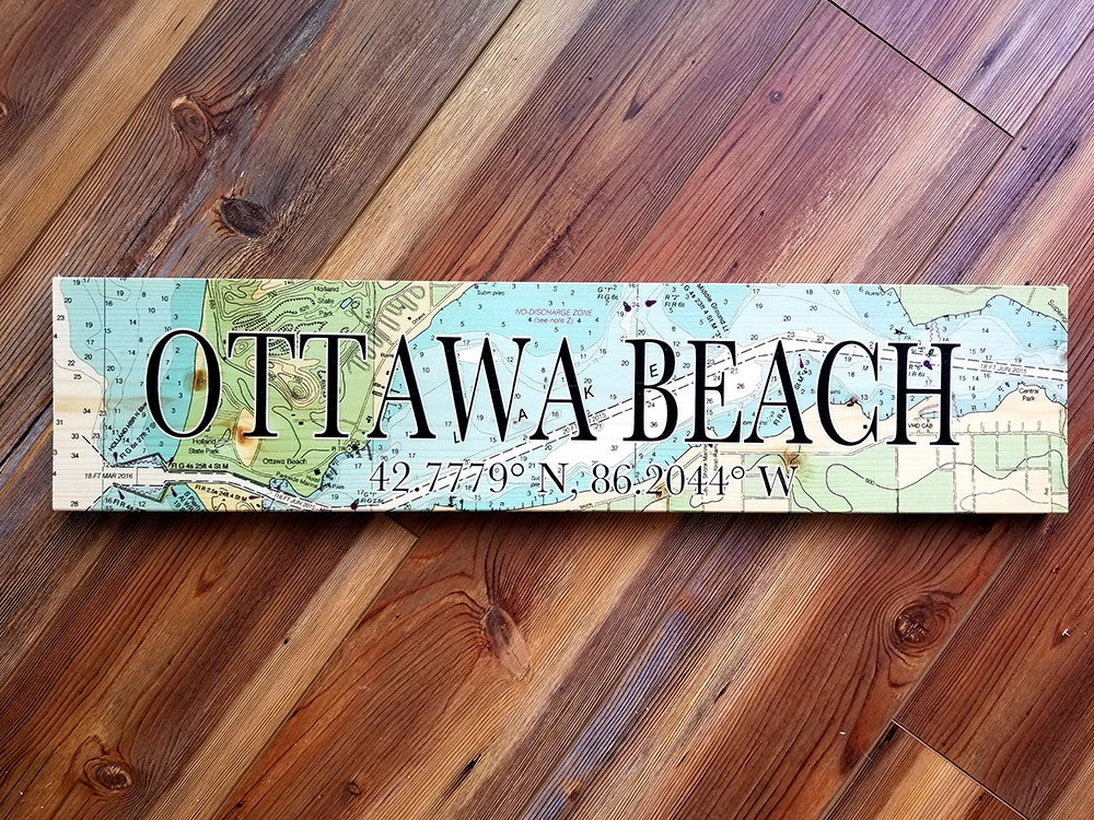 Ottawa Beach MI Coordinate Sign