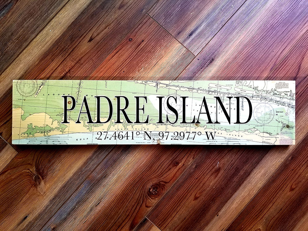 Padre Island, TX Coordinate Sign