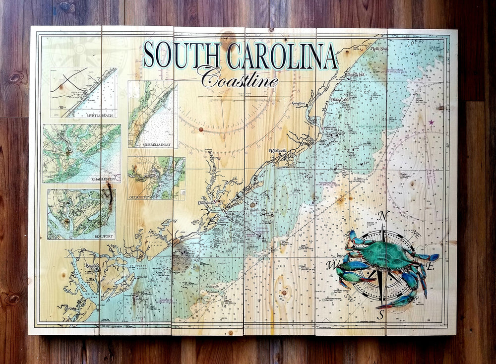 South Carolina Coastline Statement Sized Pallet Map