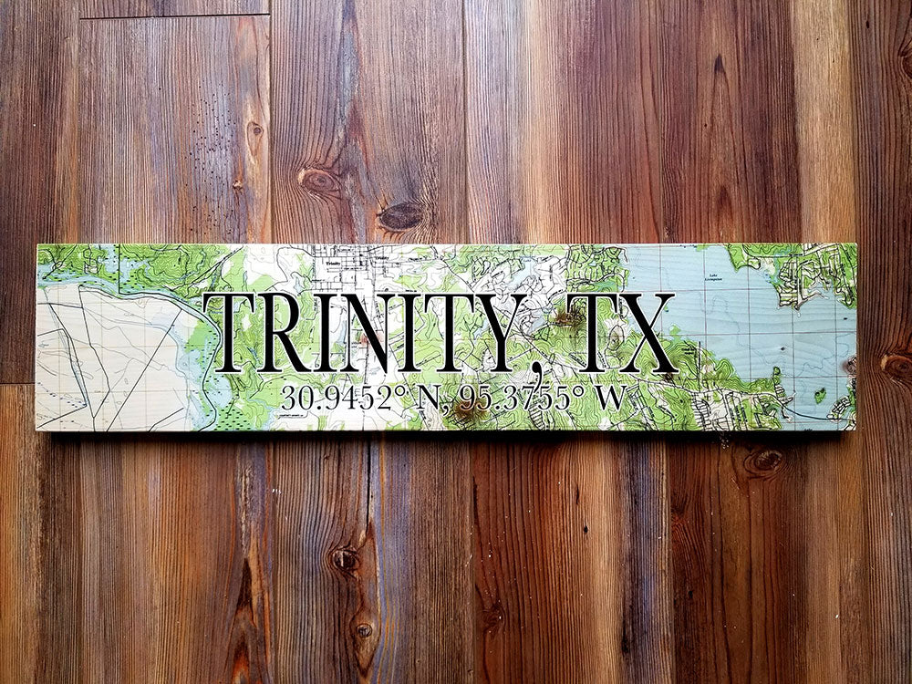 Trinity, TX Coordinate Sign