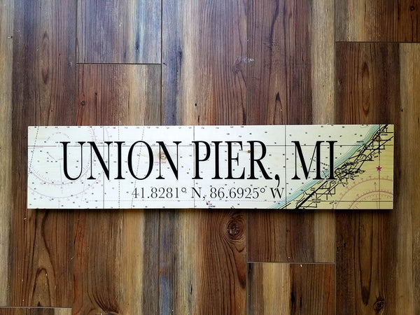 Union Pier, MI Coordinate Sign
