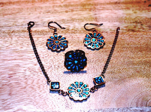 Turquoise Flower Effect Jewelry Set; dangle earrings, bracelet and ring - pasicraft
