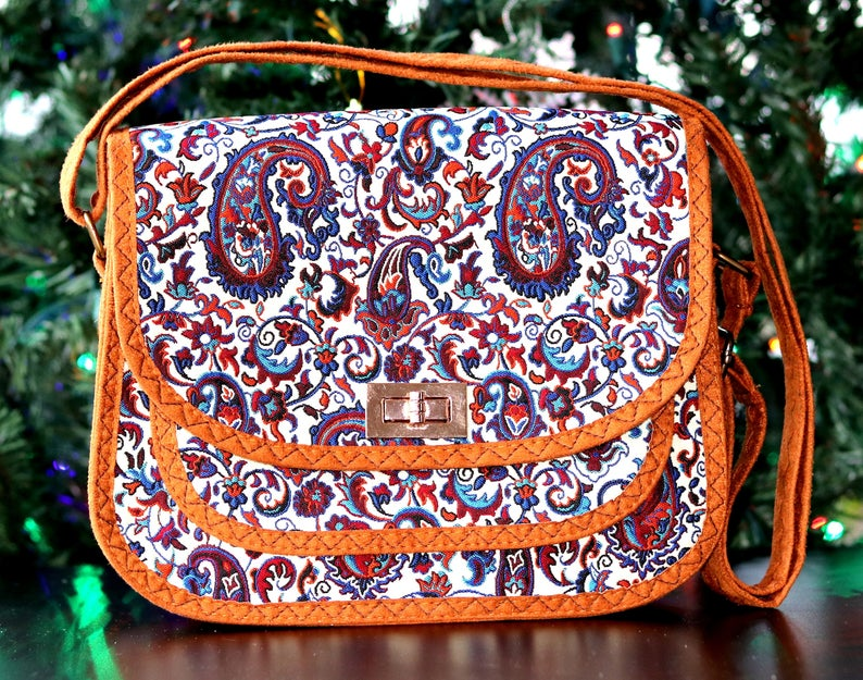 Vintage Style Shoulder Bag, Crossbody Textile Bag, 3-Pocket Strap Purse - pasicraft