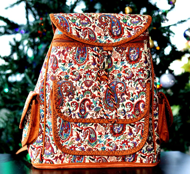 Classy Textile Backpack, Traditional College Bag, Women's Backpack - pasicraft