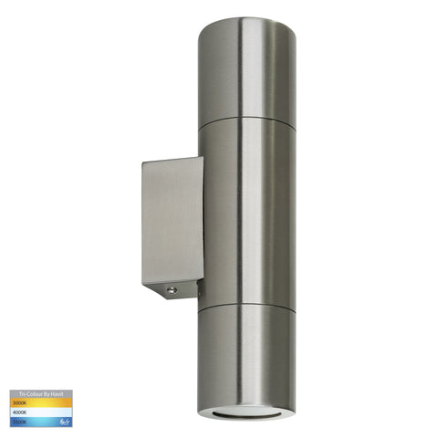 HV1071T - Piaz Stainless Steel TRI Colour Up & Down Wall Pillar Lights