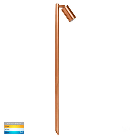 HV1403T-CP - Tivah Solid Copper TRI Colour Single Adjustable LED Bollard Spike Light