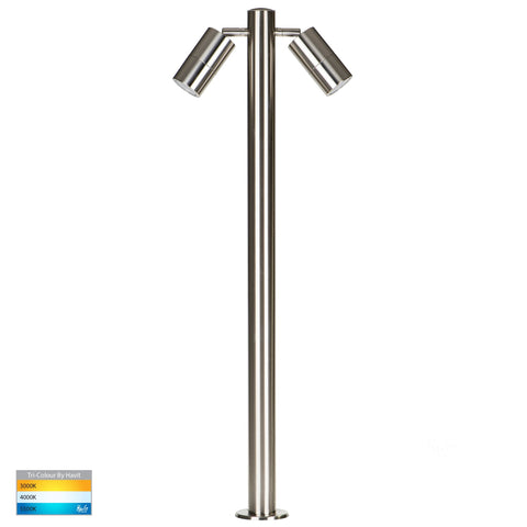 HV1507T-SS316 - Tivah 316 Stainless Steel TRI Colour Double Adjustable LED Bollard Light