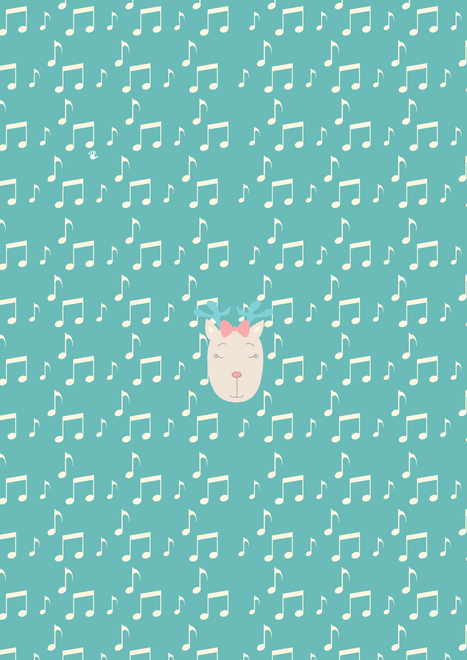 Music Notes Deer Turquoise