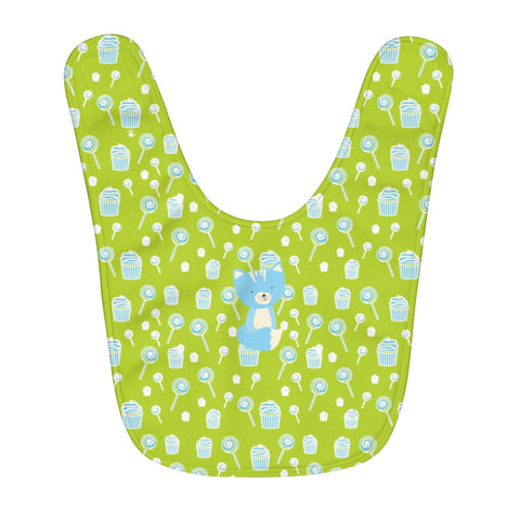 Fleece Baby Bib Sweetie Smarty Pants Green Blue