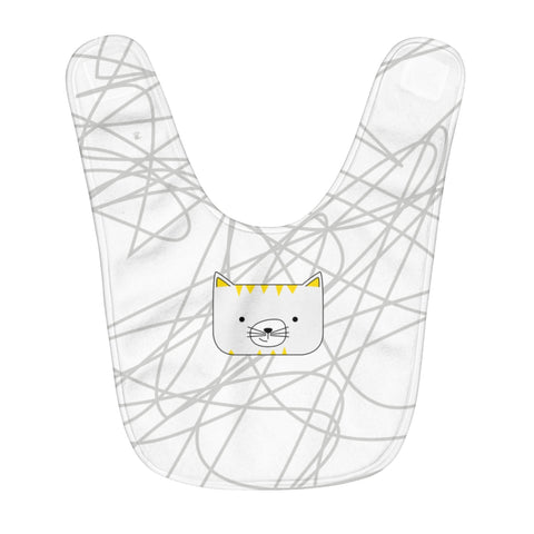 Fleece Baby Bib Scribbles Cool Cat White