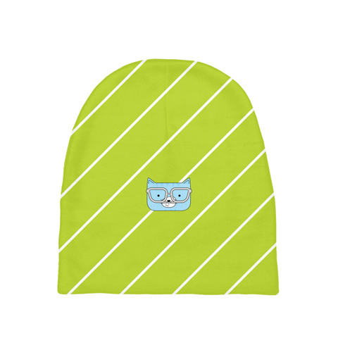 Baby Beanie_Diagonal Stripes Cool Cat Green