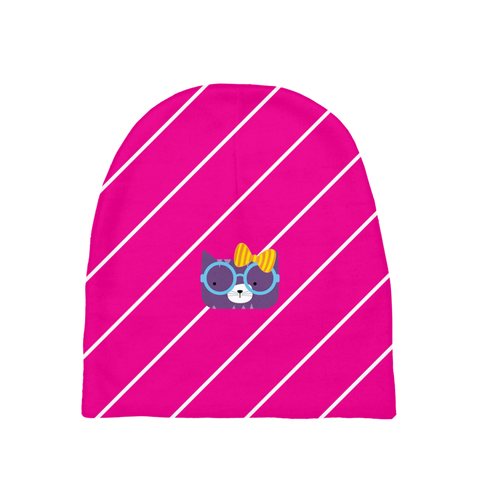 Baby Beanie_Diagonal Stripes Cool Cat Pinks