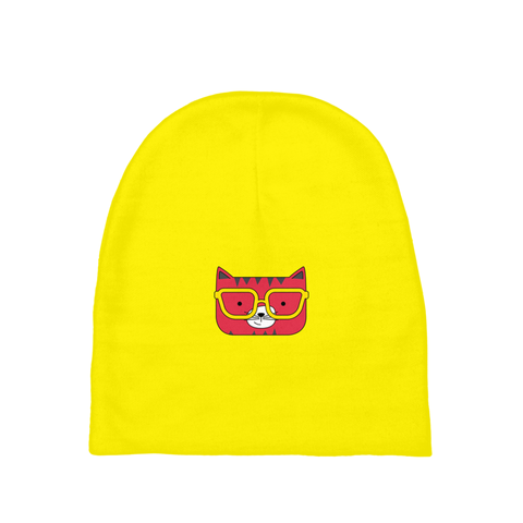 Baby Beanie_Solid Yellow Cool Cat Red