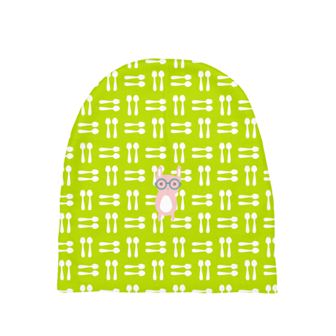 Baby Beanie_Hungry Funny Bunny Green Pink