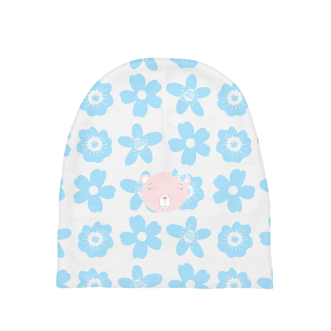 Baby Beanie_Flower Power Bear Blue Pink