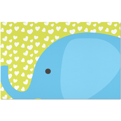 Placemats_I Love You Elephant Green Blue