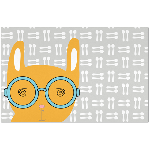 Placemats_Hungry Funny Bunny Grey
