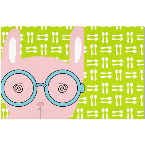 Placemats_Hungry Funny Bunny Green Pink