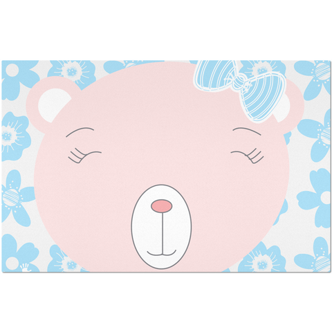 Placemats_Flower Power Bear Blue Pink