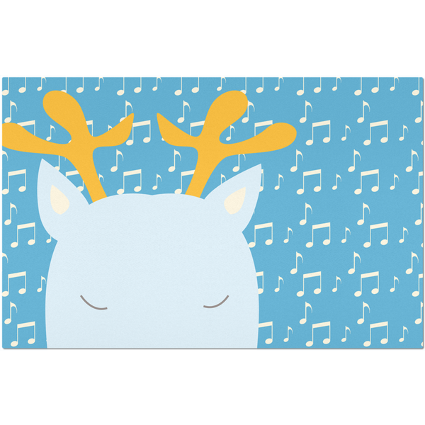 Placemats_Music Notes Deer Blue