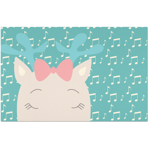 Placemats_Music Notes Deer Turquoise