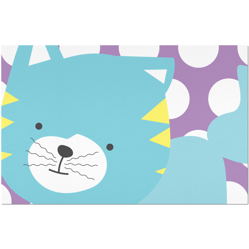 Placemats_Polka Dottie Silly Kitty Purple