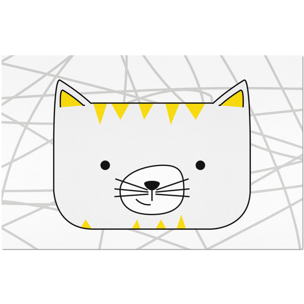 Placemats_Scribbles Cool Cat White