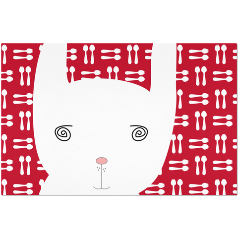 Placemats_Hungry Funny Bunny Red