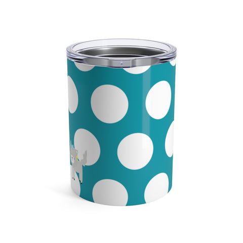 Tumbler Polka Dottie Silly Kitty Teal