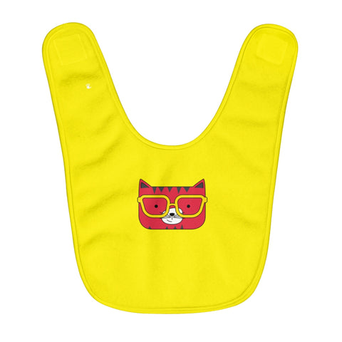 Fleece Baby Bib Solid Yellow Cool Cat