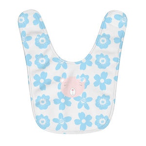 Fleece Baby Bib Flower Power Bear Blue Pink