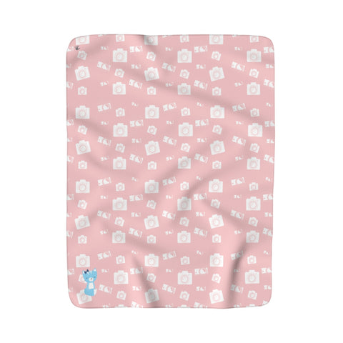 Sherpa Fleece Blanket Say Cheese Smarty Pants Pink Blue